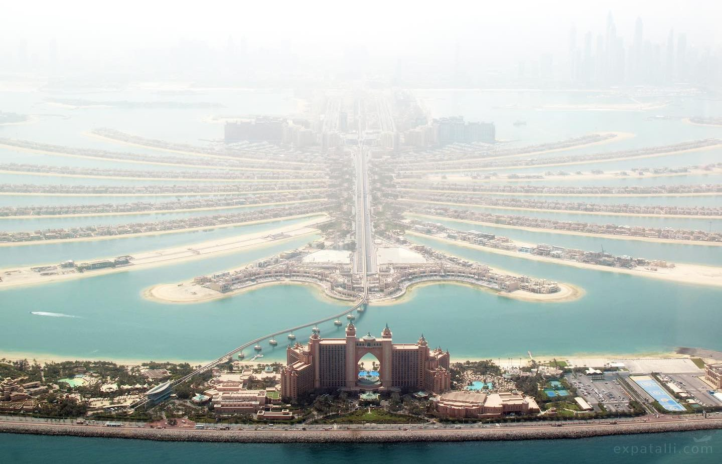 Aerial view of the Palm, with Atlantis hotel | Image © ExpatAlli.com