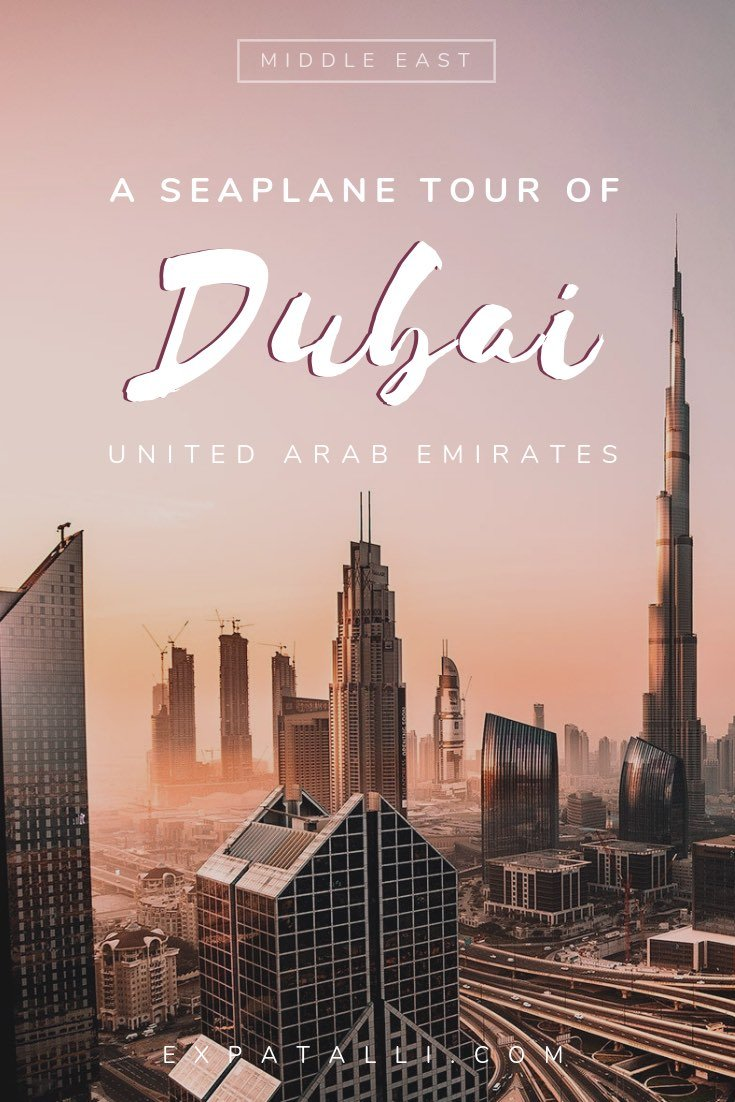 Pinterest image of Dubai city at dawn with text overlay