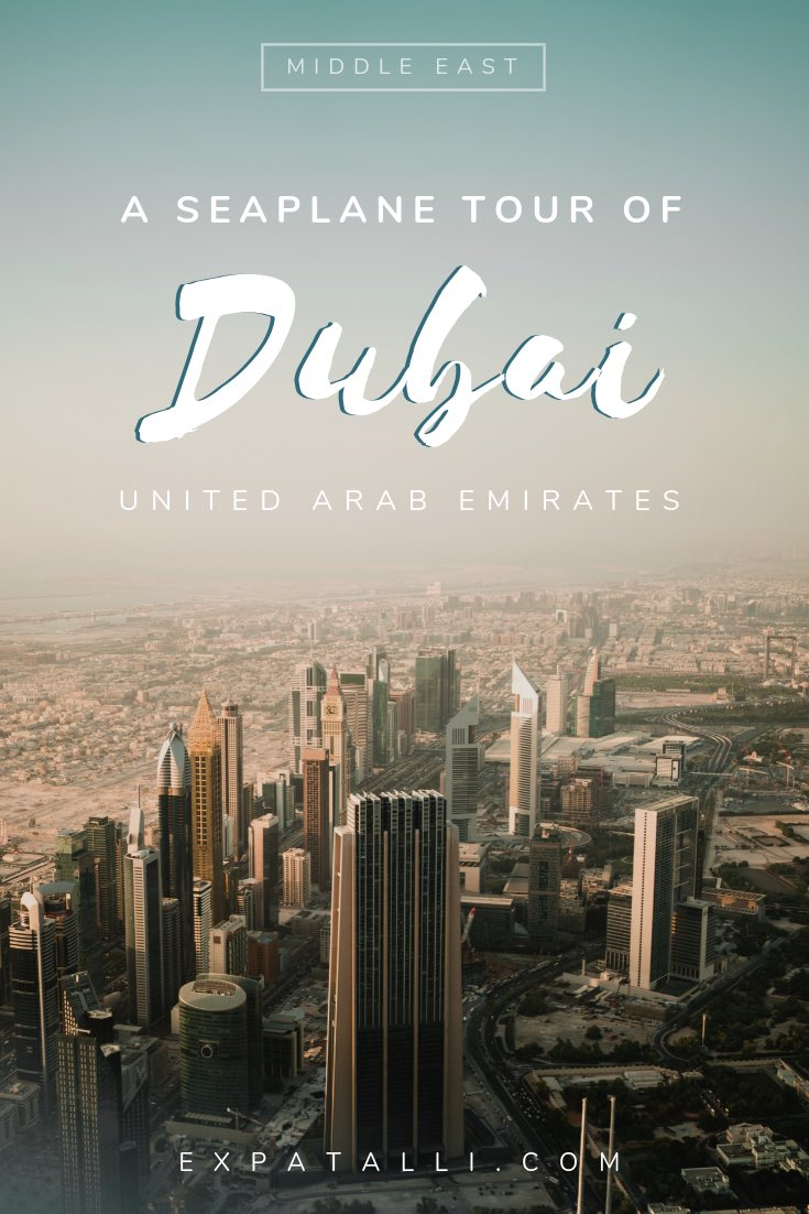 Pinterest image of Dubai buildings from above with text overlay