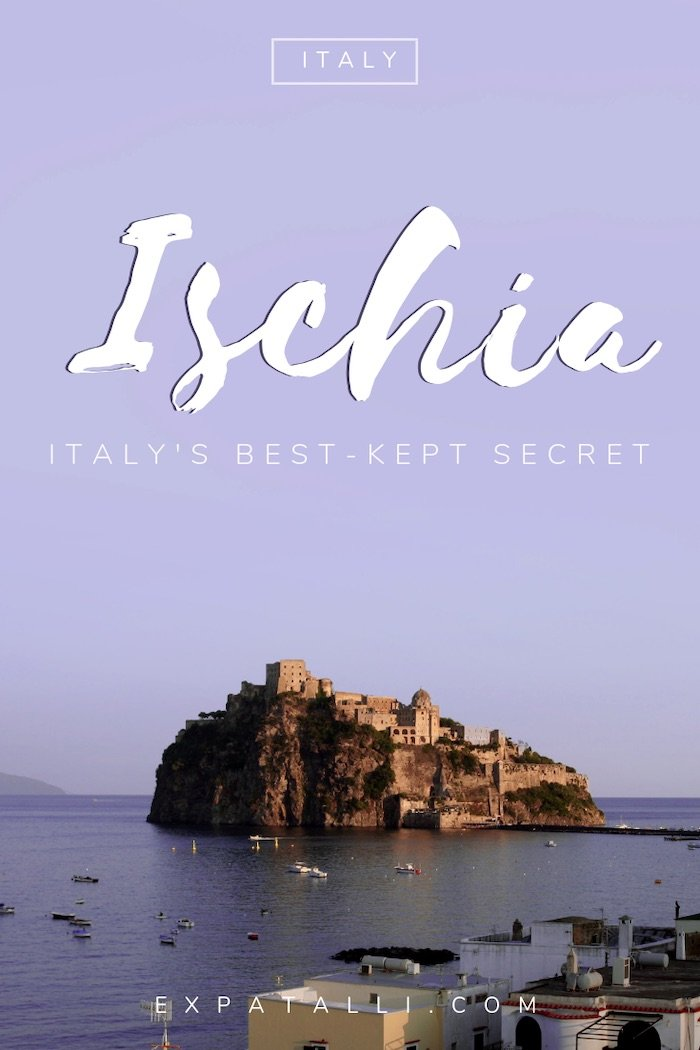 Pinterest image of Ischia's Castello Aragonese, with text overlay
