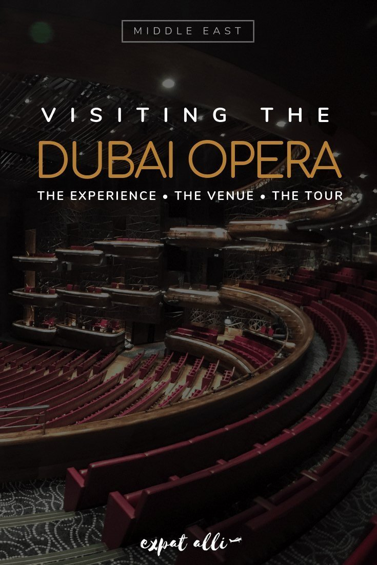 Pinterest image of Dubai's Opera House theatre, with text overlay