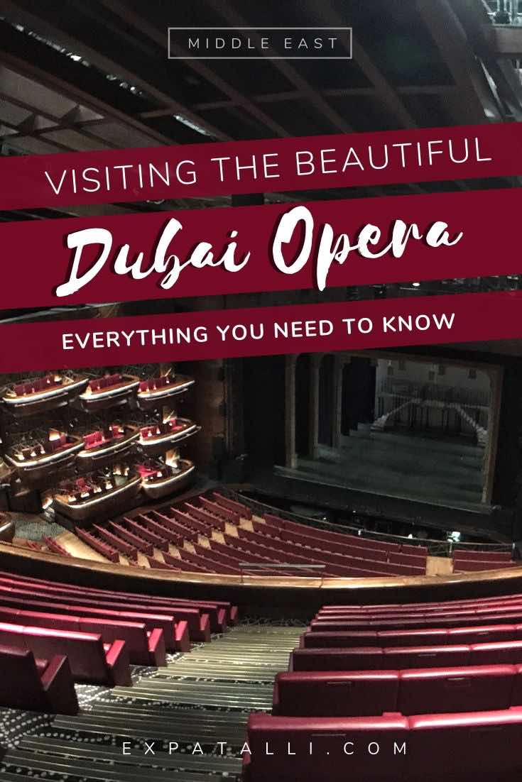 Pinterest image of Dubai Opera House, with text overlay on red banner