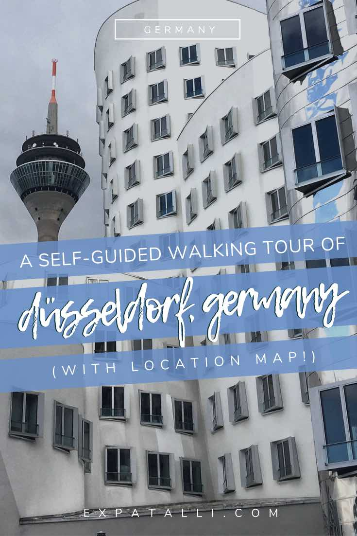 Pinterest image of Dusseldorf's Gehry buildings and Rhine Tower, with text overlay