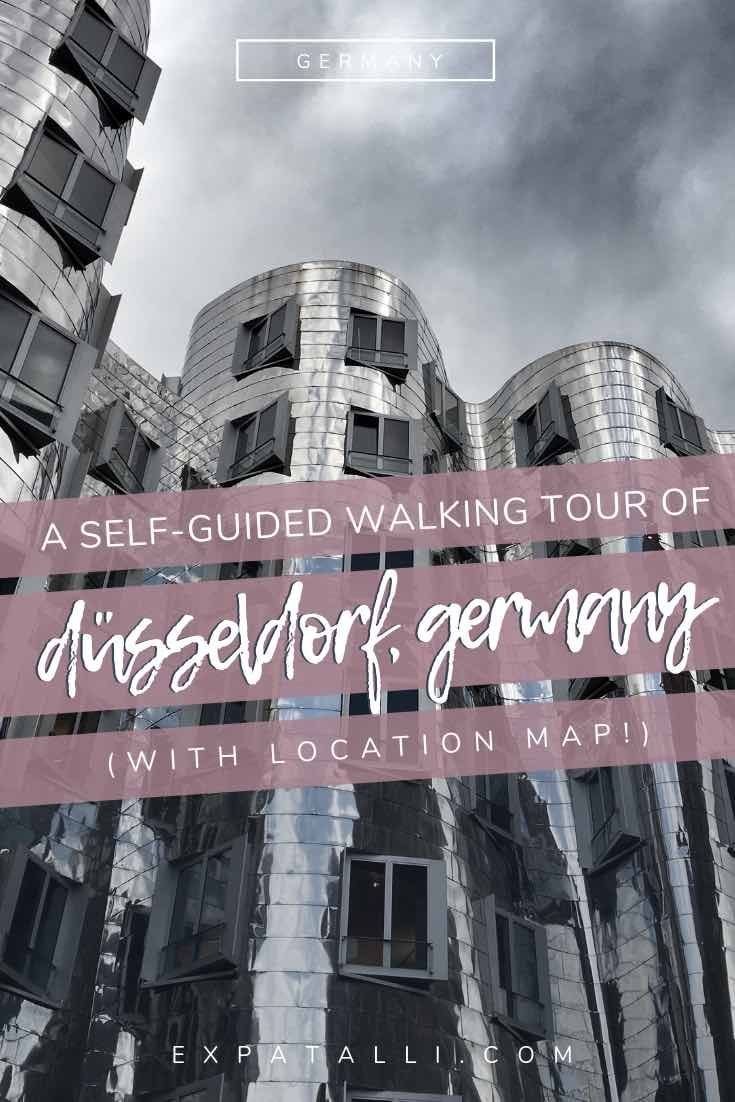 Pinterest image of one of Dusseldorf's Gehry buildings, with text overlay