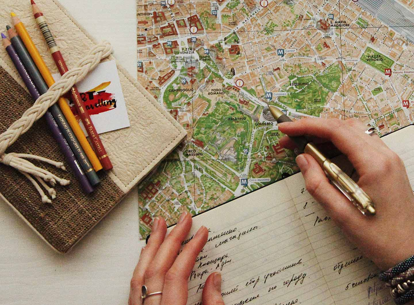 Image of a map and notebook