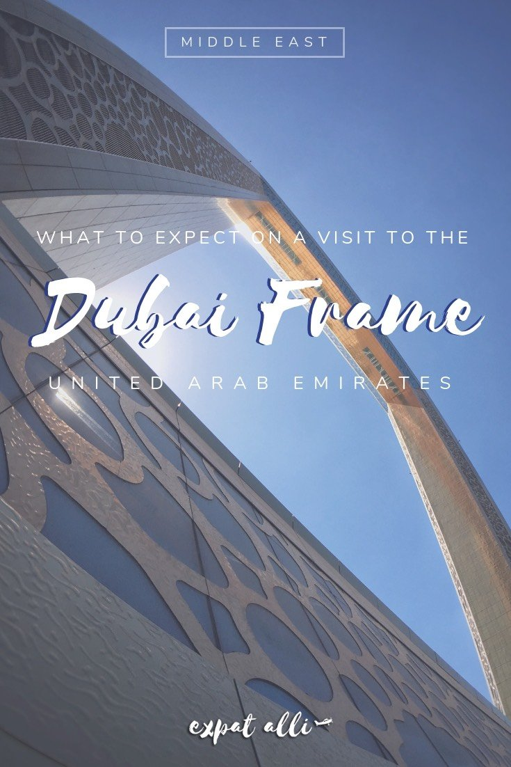 Pinterest image of the Dubai Frame, as seen below, with text overlay