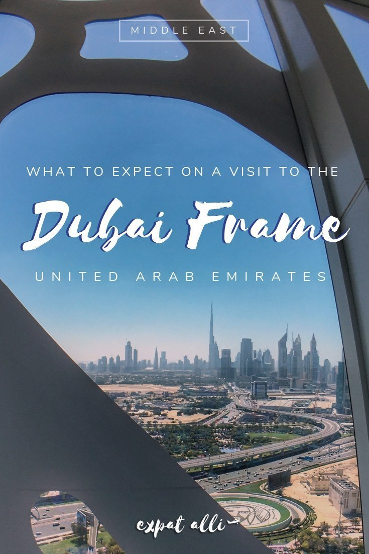 Pinterest image of Downtown Dubai, seen from the Dubai Frame, with text overlay