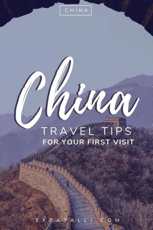 "Pinterest image of the Great Wall of China with text: ""China travel tips for your first visit"""