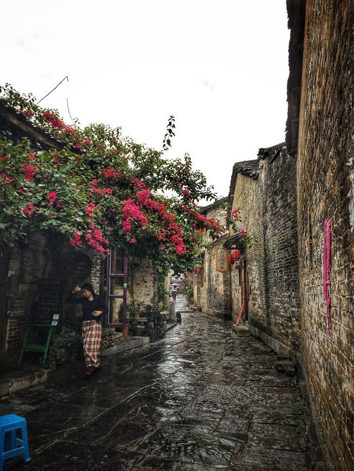 Blossoms on a street in China's Huangyao Village | Image © ExpatAlli.com