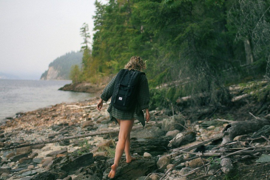 Image of girl walking on a trail near Vancouver