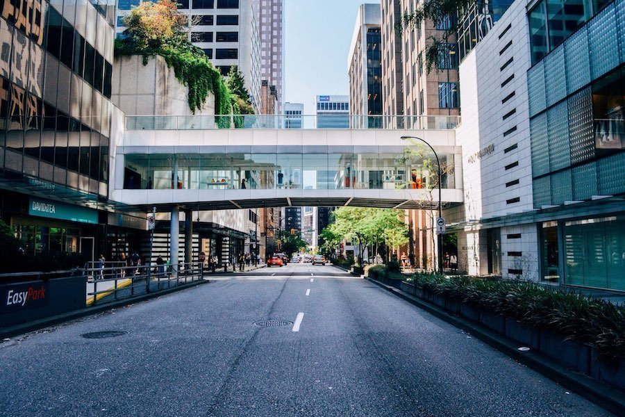 Image of a city street in downtown Vancouver