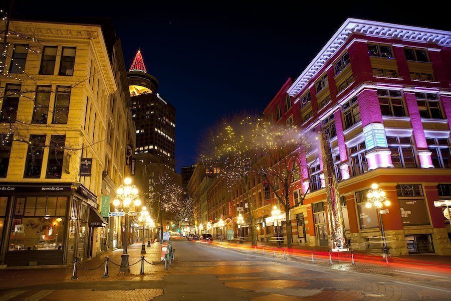 A street in Gastown at night