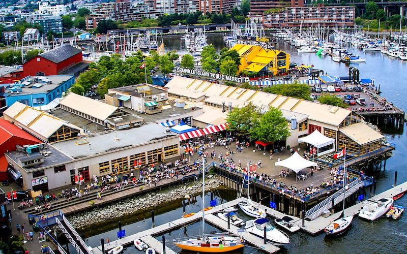 Granville Island's public market, seen from above