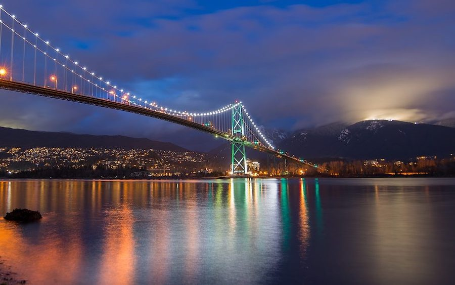 Night view of Lions Gate bridge, leading to North Vancouver