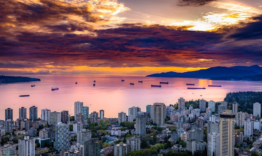Aerial view of Vancouver's West End neighbourhood at sunset