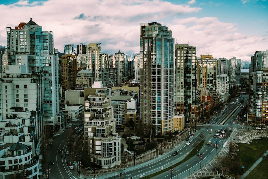 Aerial view of Vancouver's Yaletown area