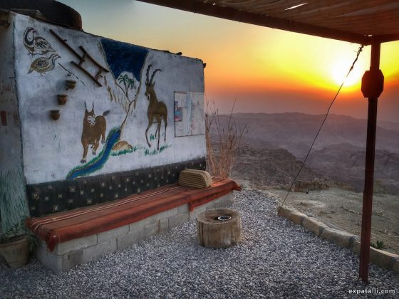Image of a painted wall at a beduin cafe in the mountains of Jordan | Image © ExpatAlli.com