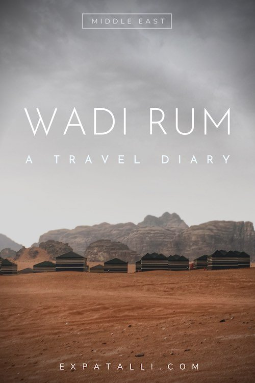 """Pinterest image of a group of tents in Wadi Rum desert, with text: """"Wadi Rum: a travel diary"""""""