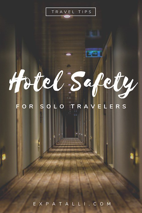 "Pinterest image of a hotel hallway, with text: ""Hotel safety for solo travellers"""