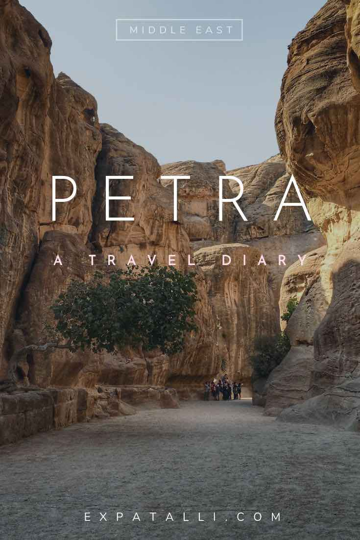 Pinterest image of cliffs at Petra, with text overlay