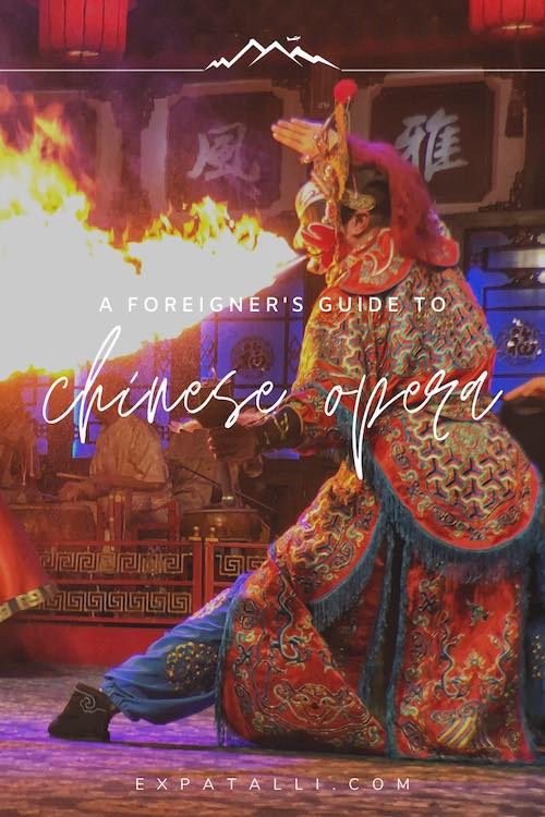 """Pinterest image of a Sichuan Opera performer fire-breathing, with text: """"A foreigner's guide to Chinese Opera"""