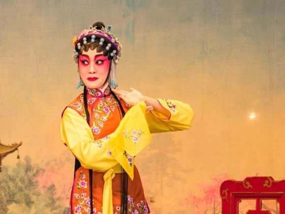Image of a Chinese Opera performer in full costume and makeup