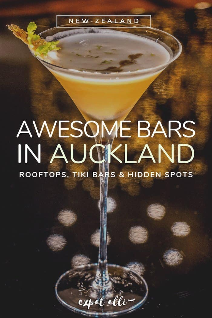"Image of a cocktail in a long stemmed glass with text: ""Awesome bars in Auckland"""