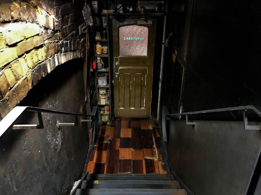 "The ""secret"" stairway leading down to Auckland's Caretaker hidden bar 