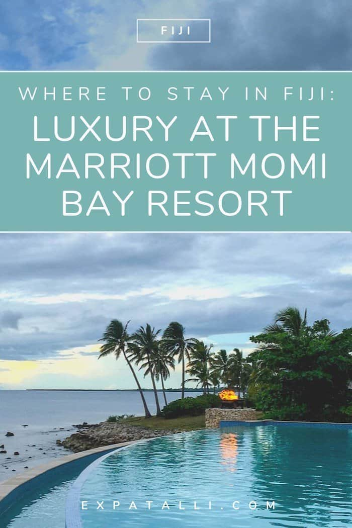 Pinterest image of the infinity pool at the Marriott, with text: Luxury at the Marriott Momi Bay Resort