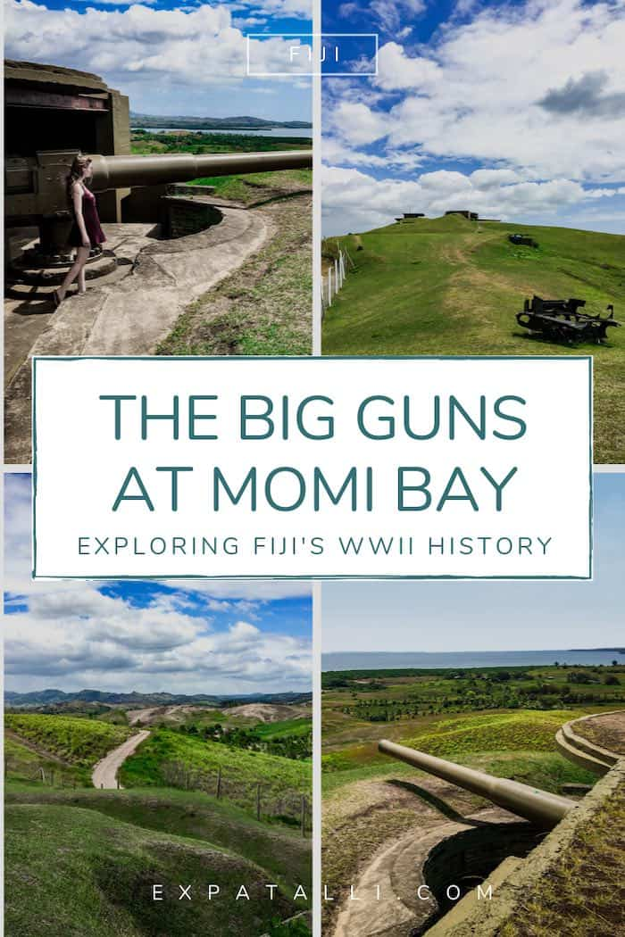"""Pinterest image with four views of the Momi Battery Park and text: """"The big guns of Momi Bay"""""""