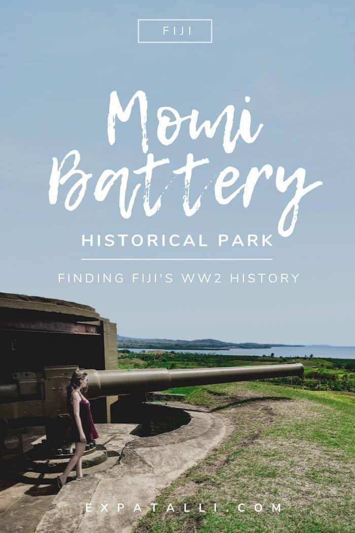 "Pinterest image of one of the Momi Battery guns, with text: ""Momi Battery Historical Park: finding Fiji's WWII History"""