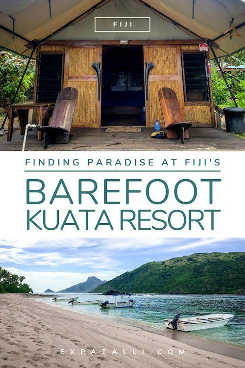 "Pinterest image of a bure and beach, with text: ""Finding paradise at Fiji's Barefoot Kuata Resort"""