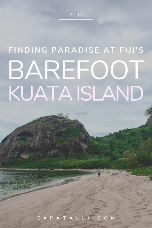 "Pinterest image of beach, with text: ""Finding paradise at Fiji's Barefoot Kuata Resort"""