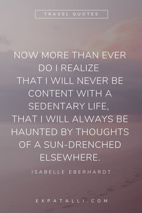 Pinterest image of a faded beach and sky with Isabelle Eberhardt quote   Best Travel Quotes from Literature   ExpatAlli.com