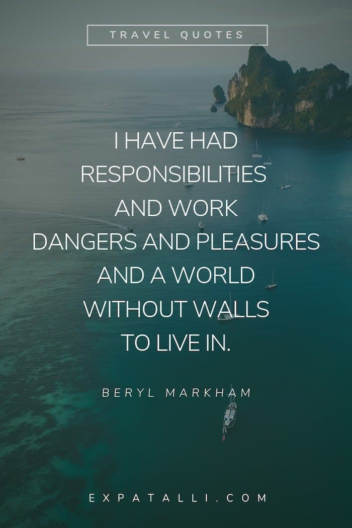 Pinterest image of boats on the water with a Beryl Markham quote   Best Travel Quotes from Literature   ExpatAlli.com