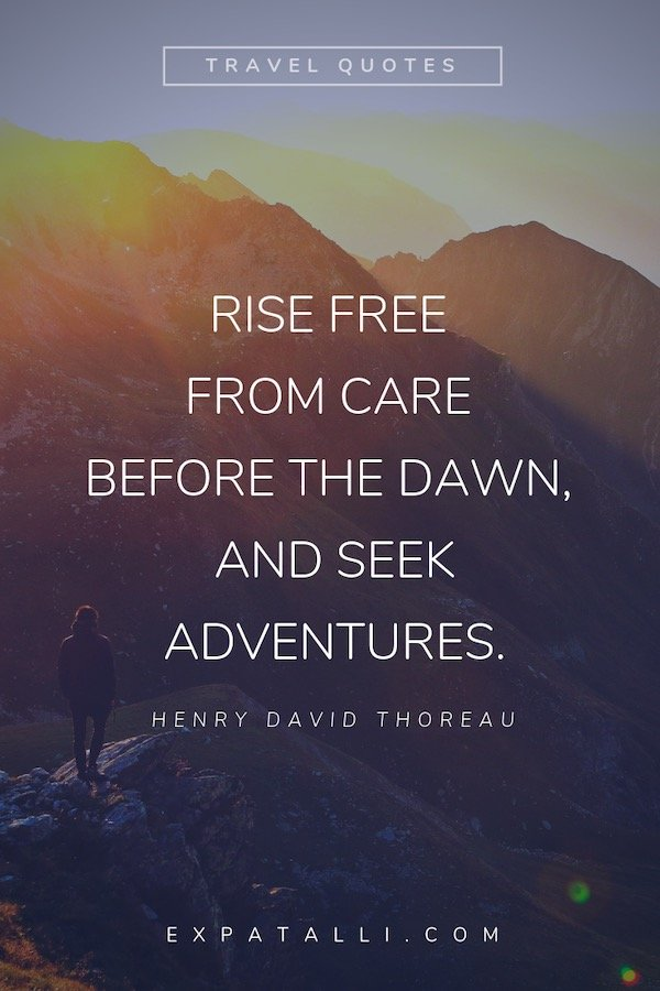 Pinterest image of a person walking through the mountains with Henry David Thoreau quote   Best Travel Quotes from Literature   ExpatAlli.com