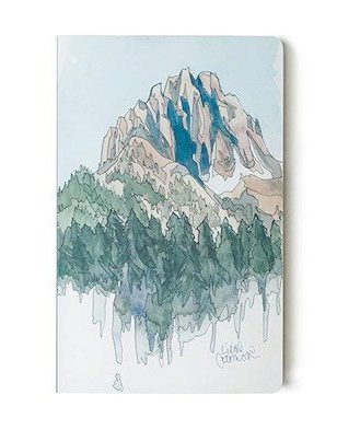 Notebook with painting of mountain