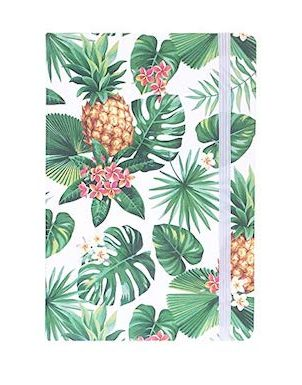 Notebook with pineapple & plam leaf design