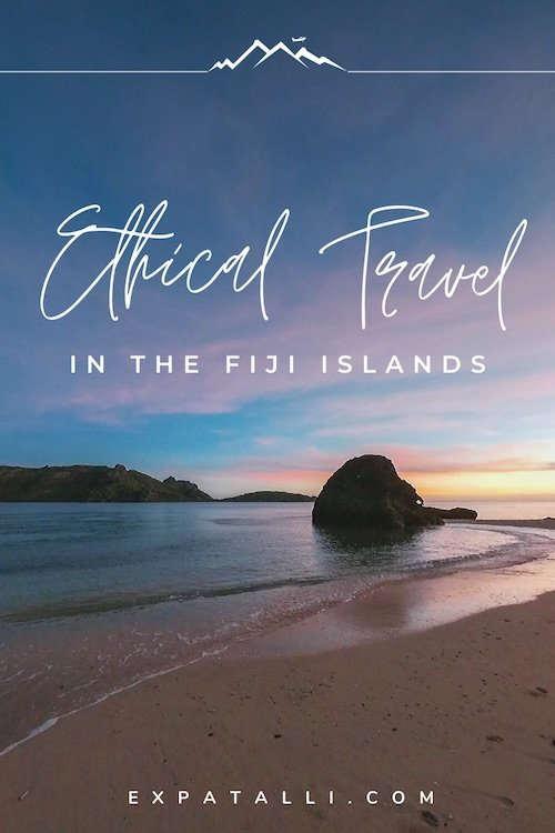 """Image of a Fijian beach with text """"Ethical travel in the Fiji islands"""" 