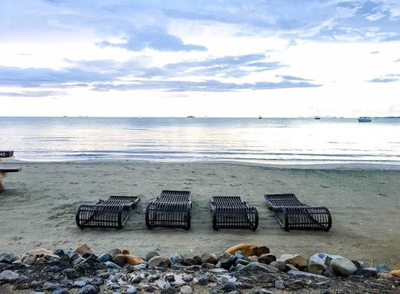 Lounge chairs on a beach in Fiji