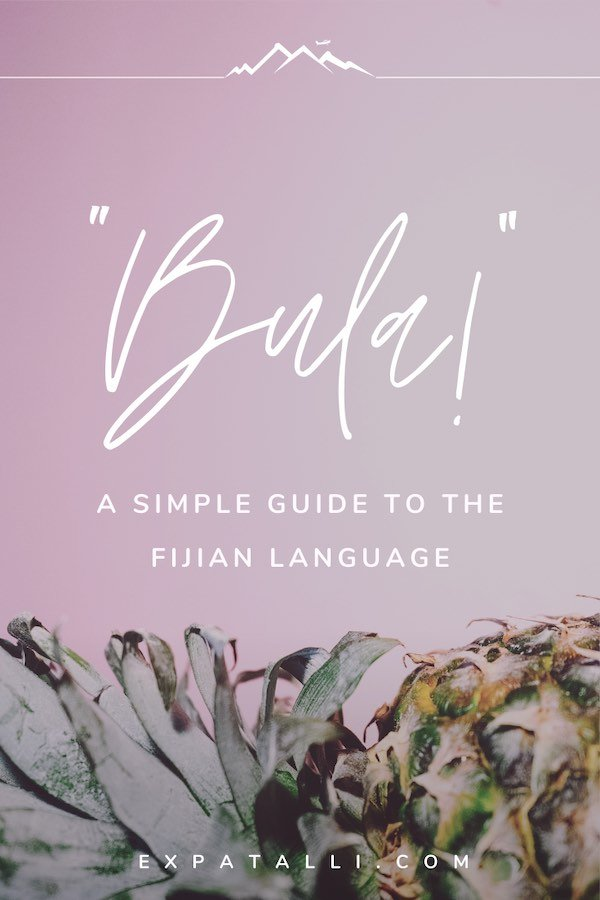 "Pinterest image of a pineapple with text: ""A simple guide to the Fijian language"" 