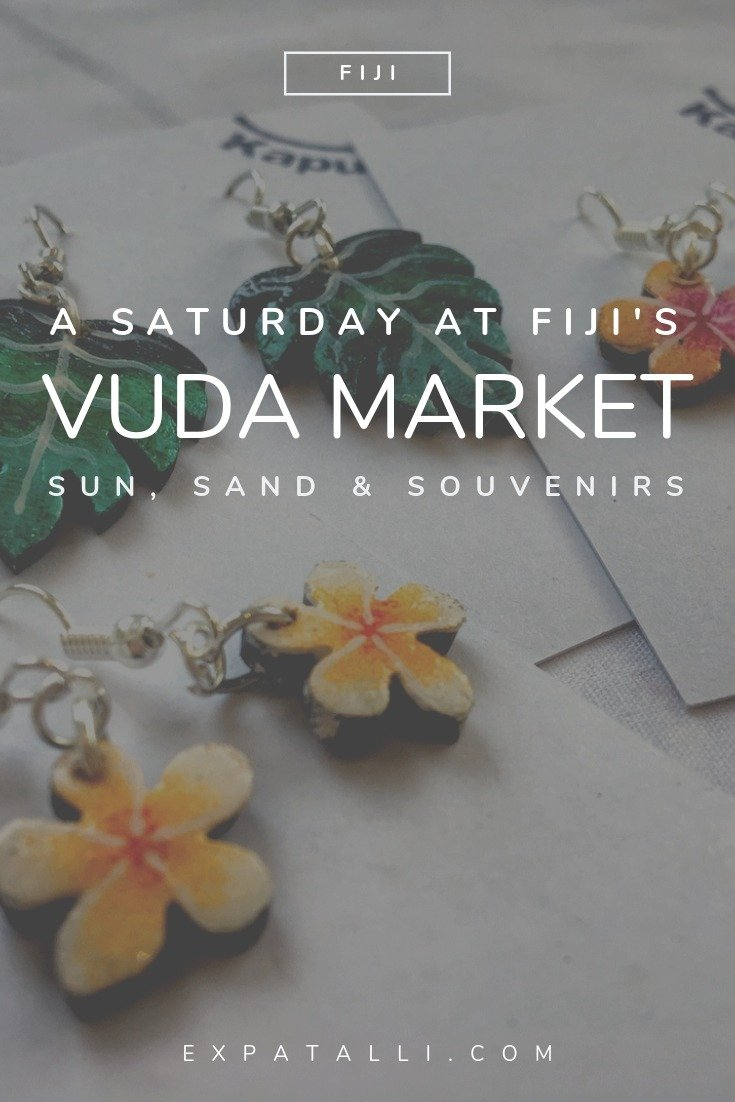 Pinterest image of hand-painted earrings from the Vuda market, with text overlay