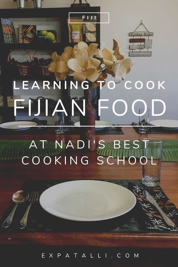 """Pinterest image of set table at Flavours of Fiji cooking school with text: """"learning to cook Fijian food at Nadi's best cooking school"""""""