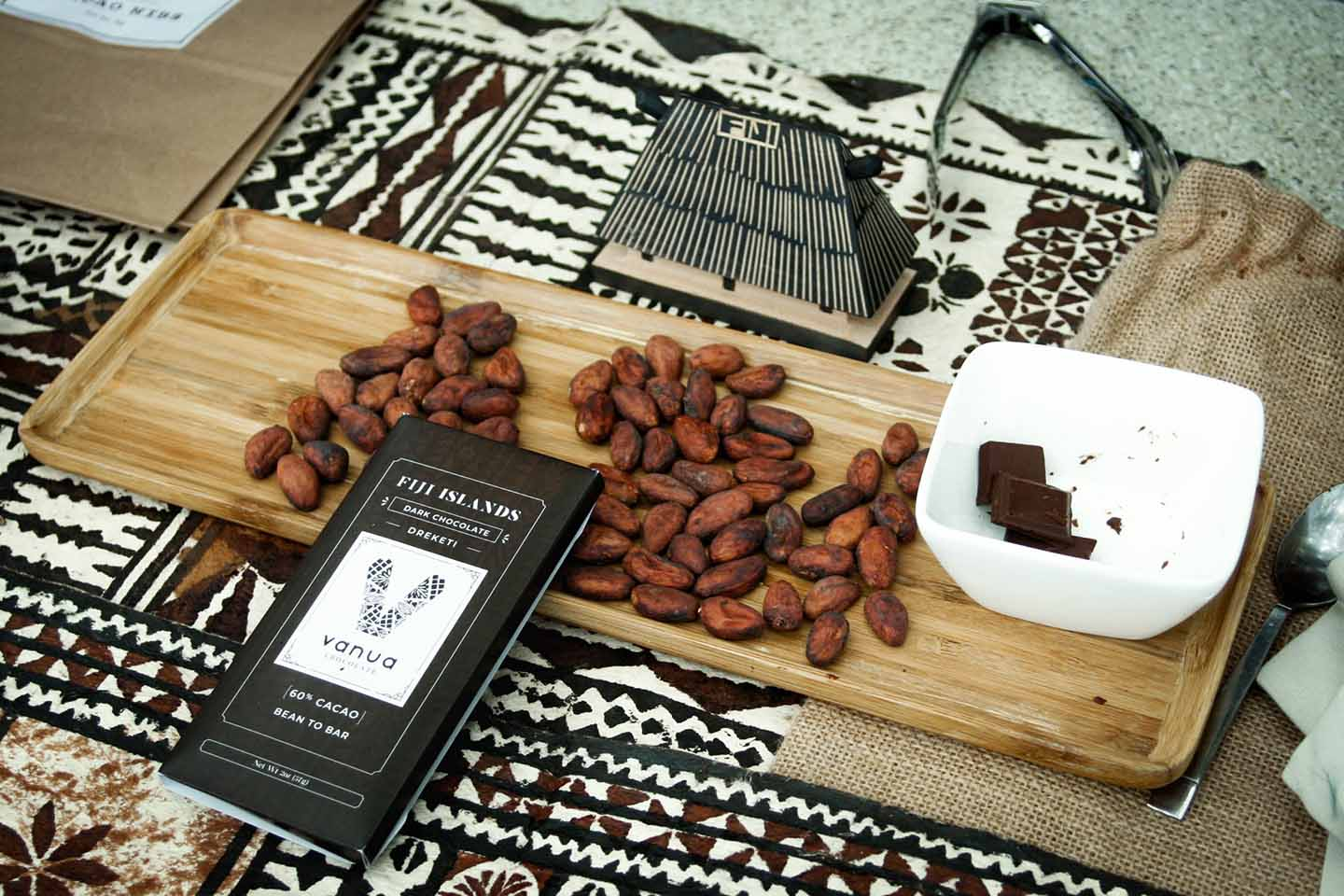 Vanua Chocolate display at the beach market