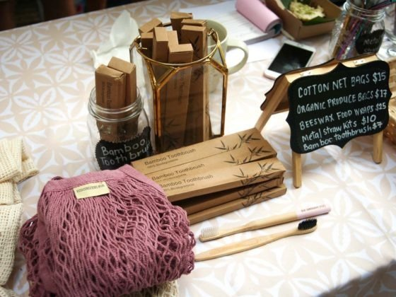 Image of eco-friendly products on display at the Vuda Beach Market