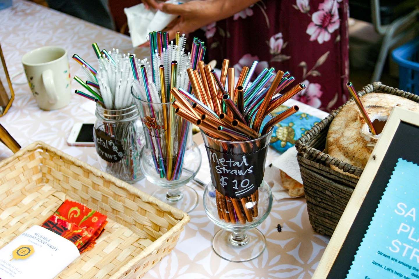 Metal straws and pipe cleaners for sale at the Vuda market