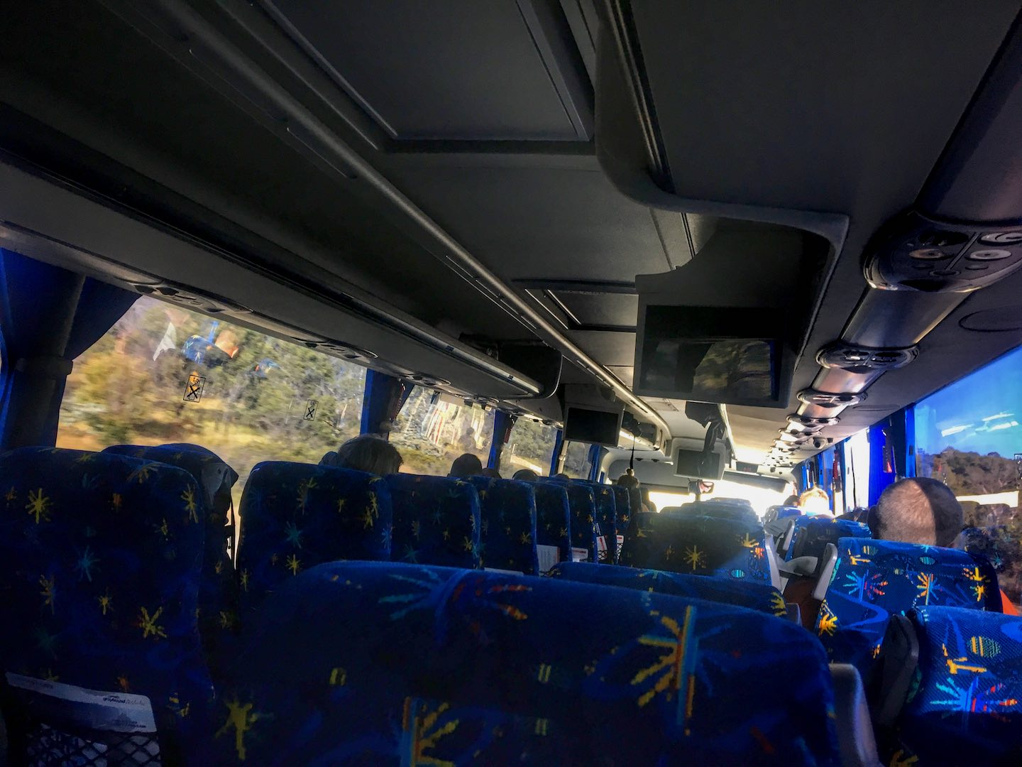 Image of the inside of a Greyhound Australia bus