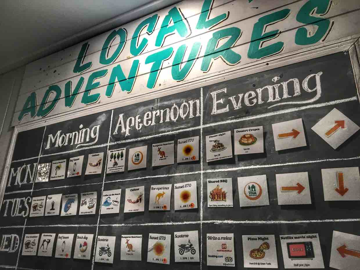 Activity board at the 1770 YHA | Image © ExpatAlli.com