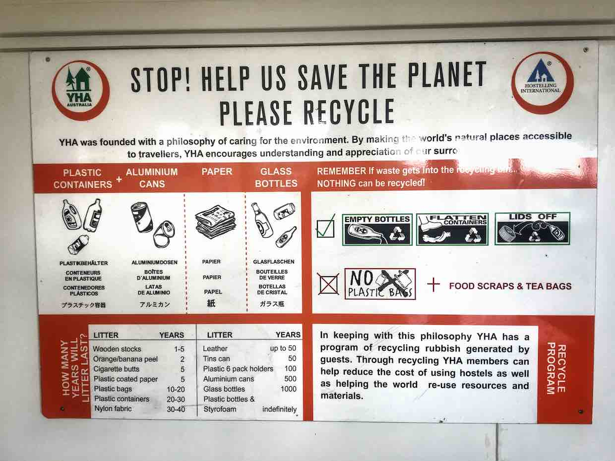 Image of a recycling notice at a YHA hostel | Image © ExpatAlli.com