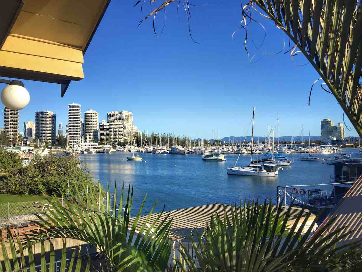 View of the harbour from the Surfers Paradise YHA | Image © ExpatAlli.com